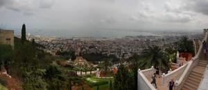 פנורמה של מפרץ חיפה והגן הבהאי