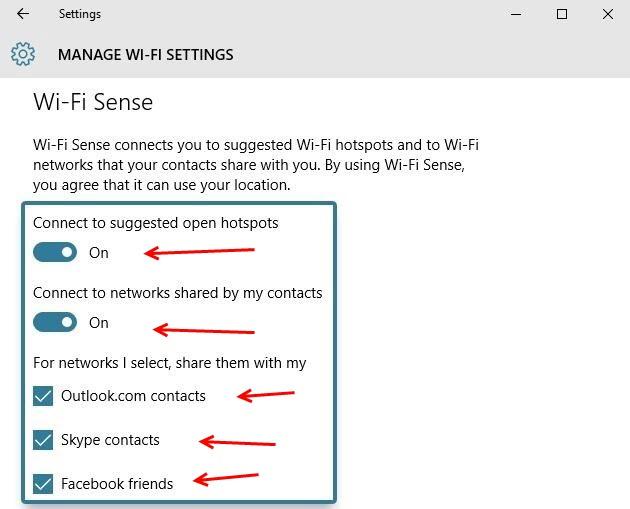 כבו את ה- Wifi Sense